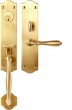 TRIM NO. 2504 MORTISE HANDLE SET - SINGLE CYLINDER IN BRASS