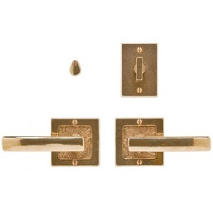 "3"" x 3"" Square Designer Textures Bronze Escutcheons Passage/Privacy Sets"