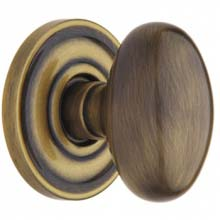 Baldwin - EGG KNOB WITH 5048 ESTATE ROSE - Satin Brass & Black