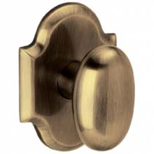Baldwin - OVAL KNOB WITH R030 ARCHED ROSE - Satin Brass and Black