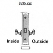 Baldwin<br />8535 - SMALL CASE LEVER X LEVER INTERIOR MORTISE LOCK - PASSAGE - 2 1/2&quot; BACKSET
