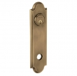 Baldwin<br />R032.050 - 10&quot; ARCHED ROSE - ENTRY OR PASSAGE/PRIVACY - SATIN BRASS AND BLACK