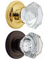 Filmore Crystal Knobs <br>Classic and Rope Rose <br>Preconfigured<br>LOWEST PRICE