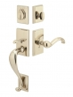 Emtek<br />452411 - Rectangular Sectional Entry Handleset Tumbled White Bronze- Double Cylinder