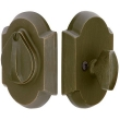 Emtek<br />8457 - SANDCAST BRONZE #1 STYLE PLATE AND FLAP DEADBOLT - SINGLE CYLINDER