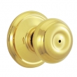 Schlage<br />F40 GEO 605  - Georgian Knob Privacy Set - Bright Brass
