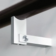 Halliday Baillie <br />HB 560 -  Stair rail bracket, rectangular for round rail, in aluminum.