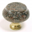 Top Knobs<br />M128 - M128 Dakota Mahagony Granite  1 3/8&quot; with Brass base