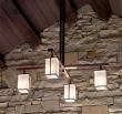 Rocky Mountain Hardware<br />C455-LED - Cross Arm Chandelier with Square Glass and LED Lamps