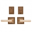 Rocky Mountain Hardware<br />E103/E103/DB202 Dead Bolt/ Spring Latch - 3&quot; X 3&quot; SQUARE DESIGNER TEXTURES BRONZE ESCUTCHEONS - DEADBOLT/SPRING LATCH ENTRY