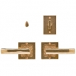 Rocky Mountain Hardware<br />E103/E103 Privacy Mortise Bolt/ Spring Latch - 3&quot; X 3&quot; SQUARE DESIGNER TEXTURES BRONZE ESCUTCHEONS - PASSAGE MORTISE BOLT/ SPRING LATCH