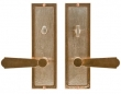 Rocky Mountain Hardware<br />E117/E116 Privacy Mortise Bolt/Spring Latch - 3&quot; X 10&quot; DESIGNER TEXTURES BRONZE ESCUTCHEONS - PRIVACY MORTISE BOLT/SPRING LATCH