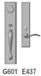 Rocky Mountain Hardware<br />G601/E437 - 3.5&quot; X 18&quot; EXTERIOR WITH 2.5&quot; X 13&quot; INTERIOR RECTANGULAR ESCUTCHEONS - ENTRY MORTISE LOCK