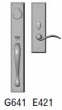 Rocky Mountain Hardware<br />G641/E421 - 2.75&quot; X 18&quot; EXTERIOR WITH 3&quot; X 10&quot; INTERIOR RECTANGULAR ESCUTCHEONS - ENTRY MORTISE LOCK