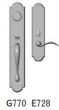 Rocky Mountain Hardware<br />G770/E728 - 3 1/2&quot; X 20&quot; EXTERIOR WITH 3&quot; X 13&quot; INTERIOR ARCHED ESCUTCHEONS - ENTRY MORTISE LOCK