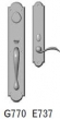 Rocky Mountain Hardware<br />G770/E737 - 3 1/2&quot; X 20&quot; EXTERIOR WITH 2 1/2&quot; X 13&quot; INTERIOR ARCHED ESCUTCHEONS - ENTRY MORTISE LOCK