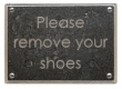Rocky Mountain Hardware<br />PL200-CG - ROCKY MOUNTAIN REMOVE SHOES PLAQUE CENTURY GOTHIC FONT