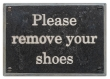 Rocky Mountain Hardware<br />PL200-NCS - ROCKY MOUNTAIN REMOVE SHOES PLAQUE NEW CENTURY SCHOOLBOOK FONT