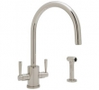 Rohl Faucets<br />U.4312LS - CONTEMPORARY SINGLE HOLE &quot;C&quot; SPOUT KITCHEN FAUCET WITH SIDESPRAY U.4312LS