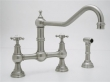 Rohl Faucets<br />U.4763X - ROHL BRIDGE KITCHEN FAUCET 11&quot; EXTENDED SPOUT WITH CROSS HANDLES AND SIDESPRAY U.4763X