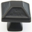 Schaub<br />821-FB - Cast Bronze, Kelmscott Manor, Square Knob, 1-5/16&quot; diameter, Flat Black finish