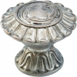 Schaub<br />936-MSL - Solid Brass, Symphony, Swans, Round Knob, 1-1/4&quot; diameter, Monticello Silver finish