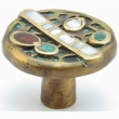 Schaub<br />952K-DGW - Solid Brass, Symphony, Heirloom Treasures, Round Knob, w/Jade; Mother of Pearl inlay, 1-1/2&quot; diameter, Dark Green Wash finish