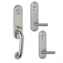 OMNIA STAINLESS STEEL TUBULAR DEADBOLT ENTRY HANDLESETS