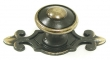Top Knobs<br />M28 - Canterbury knob 1 1/4&quot; w/backplate in Dark Antique Brass