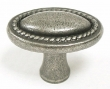 Top Knobs<br />M401 - Oval rope knob 1 1/4&quot; in Antique Pewter