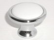 Top Knobs<br />M421 - Knob 1 1/4&quot; in Polished Chrome &amp; White Ceramic