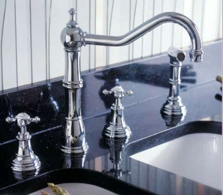 Perrin & Rowe<BR> 4 Hole Kitchen Faucet with Spray
