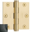 Baldwin<br /> 3&quot; x 3&quot; Square .093&quot; Thick Single Hinge IN STOCK - 1030.402.I Distressed Oil Rubbed Bronze Door Hinge