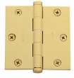 Baldwin<br />3.5&quot; x 3.5&quot; Square Corner .125&quot; Single Hinge - 1035.003.I Lifetime Finish Polished Brass Door Hinge IN STOCK