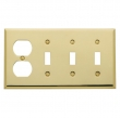 Baldwin<br />4773.030.CD - BEVELED TRIPLE TOGGLE/OUTLET COMBO