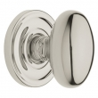 Baldwin<br />5025.055 EGG KNOB W/ 5048 ROSE- Pollished Nickel - Pre-Configured Set With Knobs, Roses, Latch & 2 1/8 Adapter