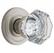Baldwin<br />5080.150 FILMORE CRYSTAL KNOB W/ 5048 ROSE - SN  -  Pre-Configured Set With Knobs, Roses, Latch & 2 1/8 Adapter