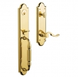 Baldwin<br />6401.031  5.5&quot;Center to Center Bore, Tubular - DEVONSHIRE ENTRANCE SET - NON-LACQUERED BRASS