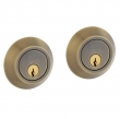 Baldwin<br />8242.050 - CONTEMPORARY DOUBLE CYLINDER DEADBOLT FOR 2 1/8&quot; DOOR PREP - SATIN BRASS AND BLACK