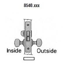 Baldwin 8545 Baldwin SMALL CASE KNOB X KNOB INTERIOR MORTISE