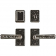 "Entry Dead Bolt/Spring Latch Set - 2-1/2"" x 4-1/2"" Hammered Escutcheons"