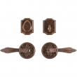 "Entry Dead Bolt/Spring Latch Set - 3-1/4"" Round Bordeaux Escutcheons"