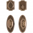 "Entry Dead Bolt/Spring Latch Set - 2-1/2"" x 5-1/2"" Oval Bordeaux Escutcheons"