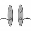 "Rocky Mountain Hardware<br />E542/E541 - Privacy Mortise Bolt/Spring Latch Set - 2-1/2"" x 10"" Oval Escutcheons"