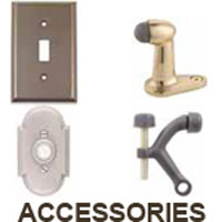 Surface Bolts,<br>Pocket Door Locks,<br>Roller Catches,<br>Screen Door locks,<br>Switch Plates,<br>Baseboard Stops