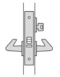 FSB Door Hardware <br />SML 7159 - J. Storeroom Mortise Lock, Latch bolt by handle inside and key outside. Outside handle always rigid. Auxiliary latch deadlocks latch bolt.