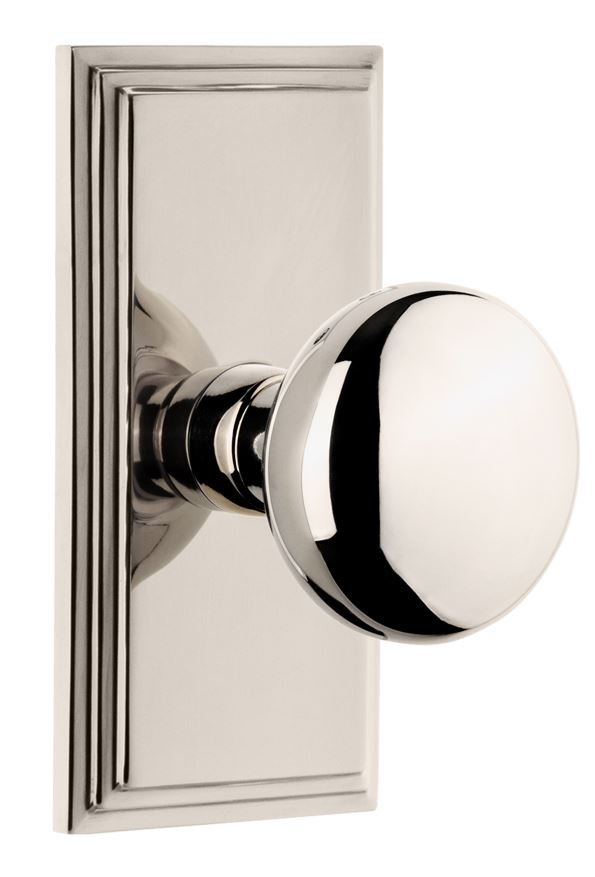 Polished Nickel Carre Knobs & Levers