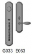 Rocky Mountain Hardware<br />G033/E063 - 3 1/2&quot; X 20&quot; EXTERIOR WITH 3&quot; X 13&quot; INTERIOR ELLIS ESCUTCHEONS - ENTRY MORTISE LOCK