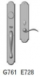 Rocky Mountain Hardware<br />G761/E728 - 2 3/4&quot; X 20&quot; EXTERIOR WITH 3&quot; X 13&quot; INTERIOR ARCHED ESCUTCHEONS - ENTRY MORTISE LOCK