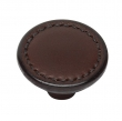 Turnstyle Designs<br />H1191 - Saville Leather, Cabinet Knob, Small Button, 1 13/32&quot;